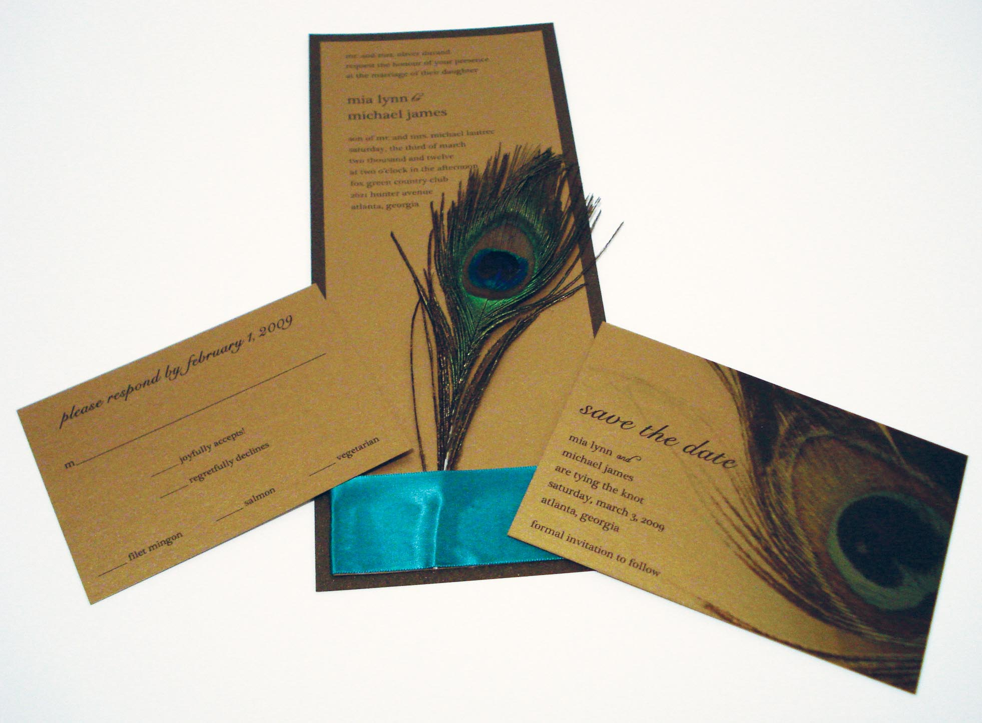 decadent feathers peacock wedding invitation