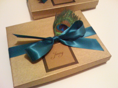 peacock bridesmaid card box