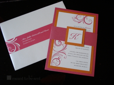 layered invite with belly band