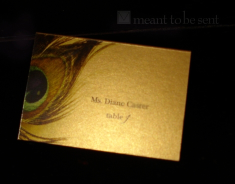 decadent peacock invitation coordinating place card