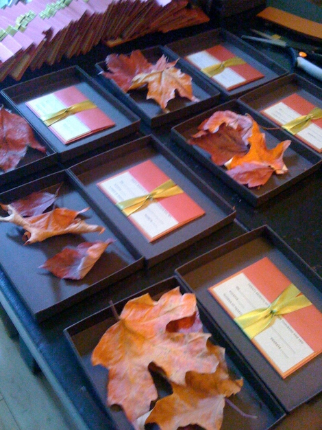 fall leaves boxed invitation