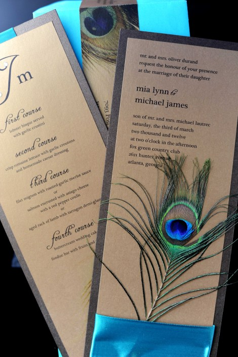 decadent peacock feather invitation